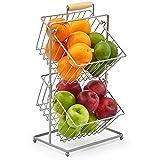 EZOWare 2 Hängen Körbe Obstkorb - Dekorative Drahtkorb aus Metall Aufbewahrung Arbeitsplatte Organizer für Obst, Gemüse, Snacks, Haushalts Gegenstände - Silber