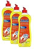 Somat Klarspüler Zitrone 3er Pack mit Extra-Trocken-Effekt für unschlagbaren Glanz auf Gläsern & Geschirr (3x 750ml)