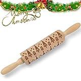 LiveRowing Teigroller - Weihnachten Präge Nudelholz - RHolz Teigroller, Perfekt Backzubehör für Fondant, Pizza, Kuchen, Nudelteig und Mürbeteig (2 Stück Set)