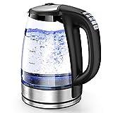 HadinEEon Wasserkocher mit Temperatureinstellung, 2200W Elektrischer Teekocher, 8 große Tassen 2,0 l Tragbarer Glaswasserkocher mit 4 Stunden Warmhaltefunktion, Automatischer Abschaltschutz