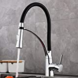 GAVAER Wasserhahn Küche Schwarz, Küchenarmatur mit Dual-Spülbrause und Herausziehbarer, Silikon Weichschlauch, Messing Verchromt, 360° Drehbarer,Kaltes und Heißes Wasser Vorhanden.