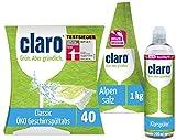 claro Testsieger Classic Tabs 40Stk. im Paket mit Klarspüler 500ml u. Alpensalz in der 1kg Pyramide