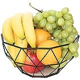 Chefarone Obstschale Metall - dekorativer Obstkorb Vintage Schwarz - Obst Aufbewahrung für mehr Vitamine in Ihrem Alltag - Skandinavische Deko Korb (26x26x12cm)